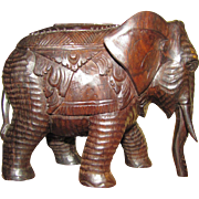Large Hand Carved Ebony Elephant, Beautifully Detailed!