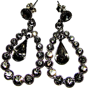 Smoky Crystal Chandelier Earrings in Japanned Setting