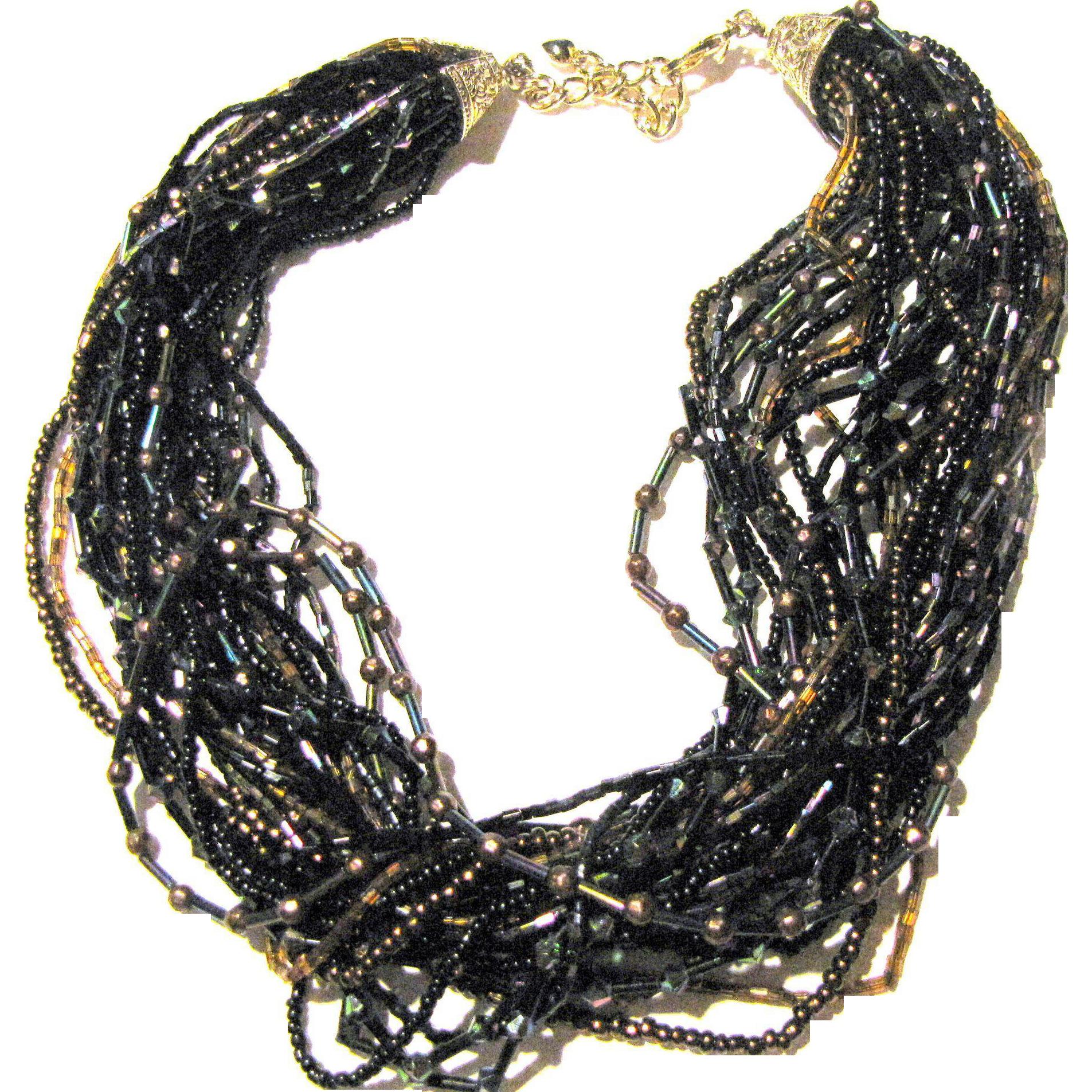Gorgeous Navy & Bronze Micro Glass Bead Torsade Necklace