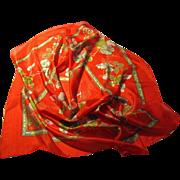 """Pristine Crimson Fine Silk 32"""" Sq Floral Scarf"""