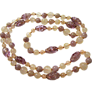 "Art Deco 30"" Hand Knotted Rose & Amethyst Quartz Necklace"