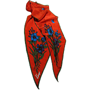 "65"" Scarlet Bias Cut Narrow Silk Scarf by Kenzie"