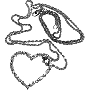 Italian Sterling Silver CZ Open Heart Pendant on Rope Chain