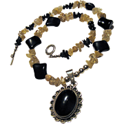 Sterling, Onyx, Rutilated Quartz Bead Necklace