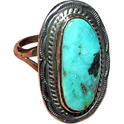 Navajo Sterling & Green Turquoise Ring Size 7.5 by Mike Ganadonegro