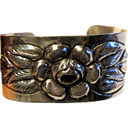 1930's Mexican Sterling Silver Repousse Floral Cuff, 43 grams