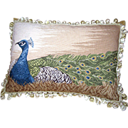 Large Wool Needlepoint Peacock Pillow w/ Feather Infill
