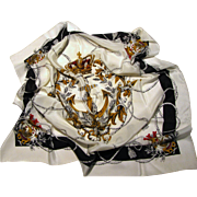 "French Crown & Anchor Design 30"" Sq Silk Scarf"