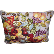 Classic Leaf & Fruit Design Needlepoint Pillow