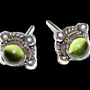 Elegant Sterling Peridot Etruscan Style Small Stud Earrings
