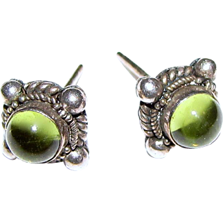 Elegant Sterling Peridot Etruscan Style Small Stud Earrings