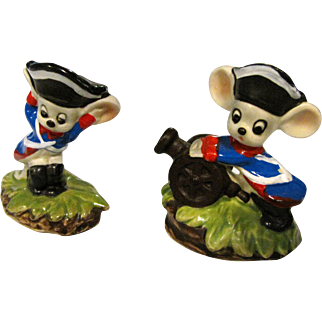 Pair of Lefton Revolutionary Soldier Mice w/ Cannon #H257