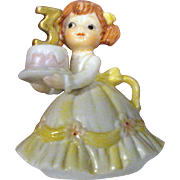 Vintage Lefton 3rd Birthday Girl Figurine #549-3