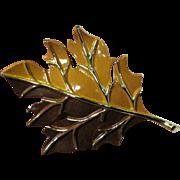 Goldtone Enameled Large Fall Leaf Pin