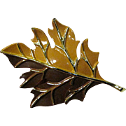 Goldtone Enameled Large Fall Leaf Pin