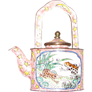 "Miniature Frogs in Rushes Enamel on Brass Teapot by ""Empress Arts"""