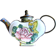 Miniature Butterfly & Flower Enamel on Brass Teapot