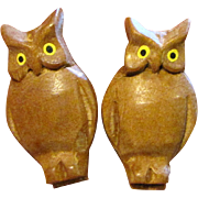 Pair of Miniature Black Forest Carved Owl Pins