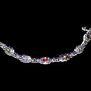 """Sterling Hearts & Gemstones Tennis Bracelet, 7 1/4"""", 14 grams"""