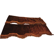 Pair of Brown Victorian Velvet Window Valances