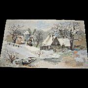 Hand Worked Needlework Panel of Winter Snow Scene