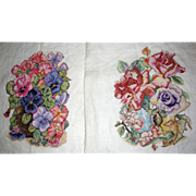 Pair of Hand Worked Needlework Floral Panels
