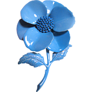 Large Vibrant Blue Enamel Flower Pin
