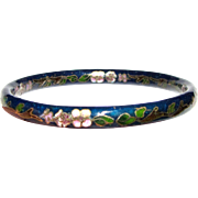 Vintage Cloisonne Blue Bangle Bracelet