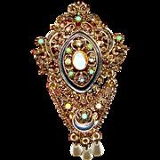 Renaissance Revival Florenza Faux Opal & Rhinestone Pin