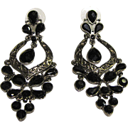 Large & Ornate Black Japaned Chandelier Earrings