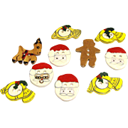 10 Hand Made Ceramic Christmas Buttons