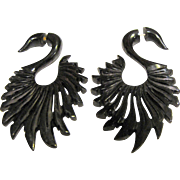 Large Faux Gauge Carved Horn Swan Earrings