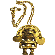 Gold Plated Mayan Pendant, Vintage Alva Museum
