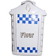 Art Deco German Mepoco Porcelain Flour Canister w/ Original Lid