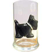 Blown Glass Tumbler w/ Applied Ceramic Terrier