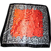 "36"" Sq Vibrant Poly Satin Scarf w/ Paintbox Orange Roses!"