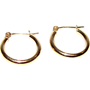 Classic Petite Israeli 10k Gold Hoop Earrings