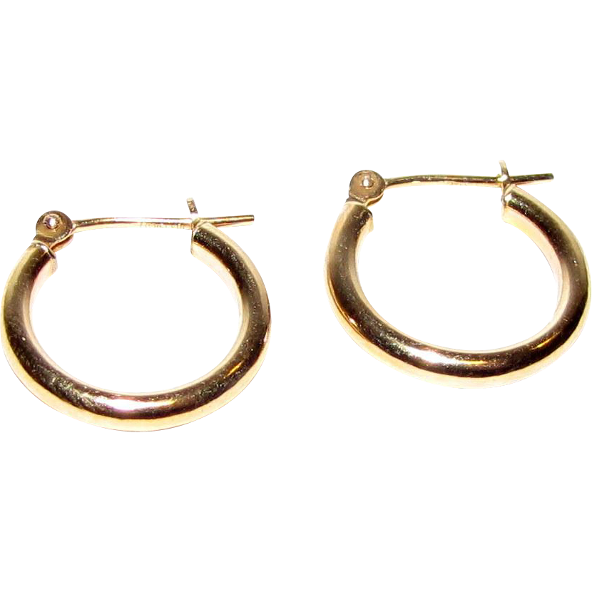 Classic Petite Israeli 10k Gold Hoop Earrings from faywrayantiques