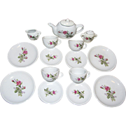 17 Piece Vintage Moss Rose Doll Tea Set
