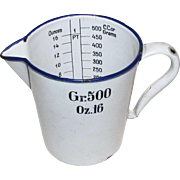 Vintage White Enamel Blue Rim Measuring Cup 16 Ounces 500 Grams or CC, Heinecke & Co., Kitchen / Hospital Ware, early 20th century