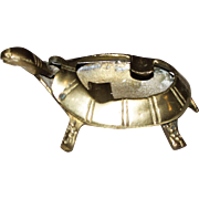 "Vintage Small Brass ""Nodder: Turtle Ashtray"