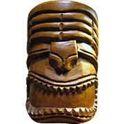 Hand Carved Monkey Pod Wood Tiki Mug