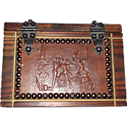 Spanish Hacienda Style Walnut Box w/ Embossed Leather Flamenco Scene