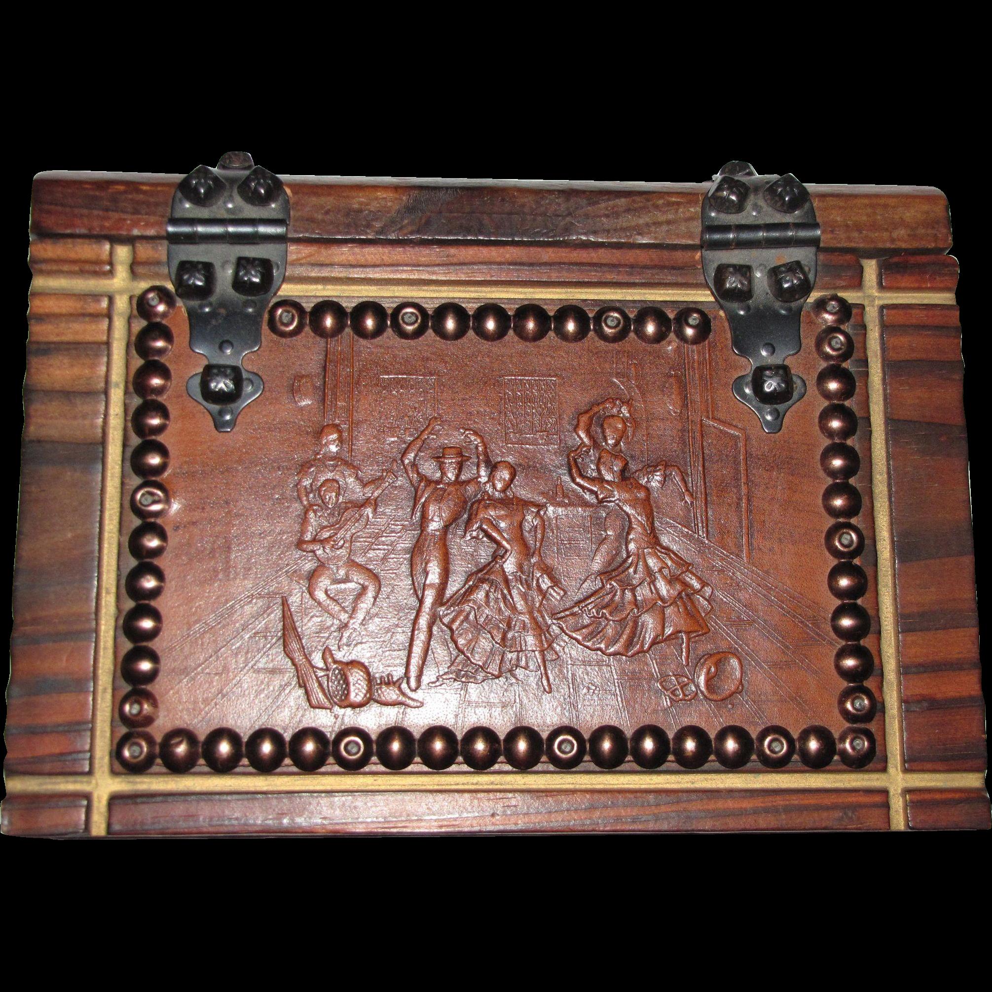 Spanish Hacienda Style Walnut Box w/ Embossed Leather Flamenco Scene