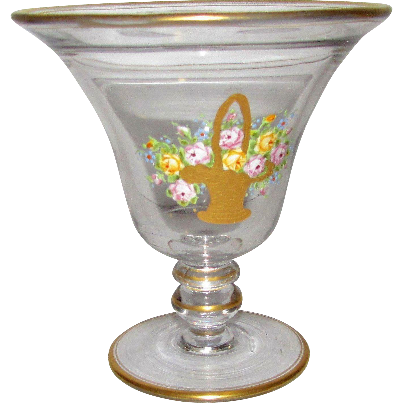 Exquisite 1920's Art Deco Vase w/ Hand Enameled Basket of Flowers