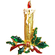 Goldtone Enameled Christmas Candle & Holly Pin