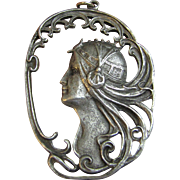 Large Art Nouveau Pendant of Lady with Flowing Locks