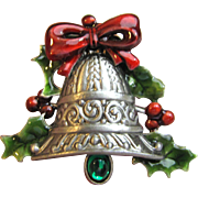 Large Christmas Bell Pin, Silver Tone w/ Enamels
