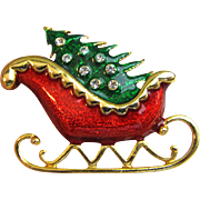 Delightful Christmas Sleigh Pin w/ Enamel & Rhinestones