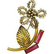 Large Art Deco Gold Tone Flower Pin w/ Pink Glass Stones